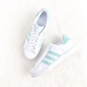 Adidas | minty teal suede accent superstar sneaker